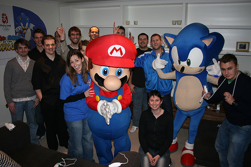 Bloggers with Mario and Sonic at the Wii Flat