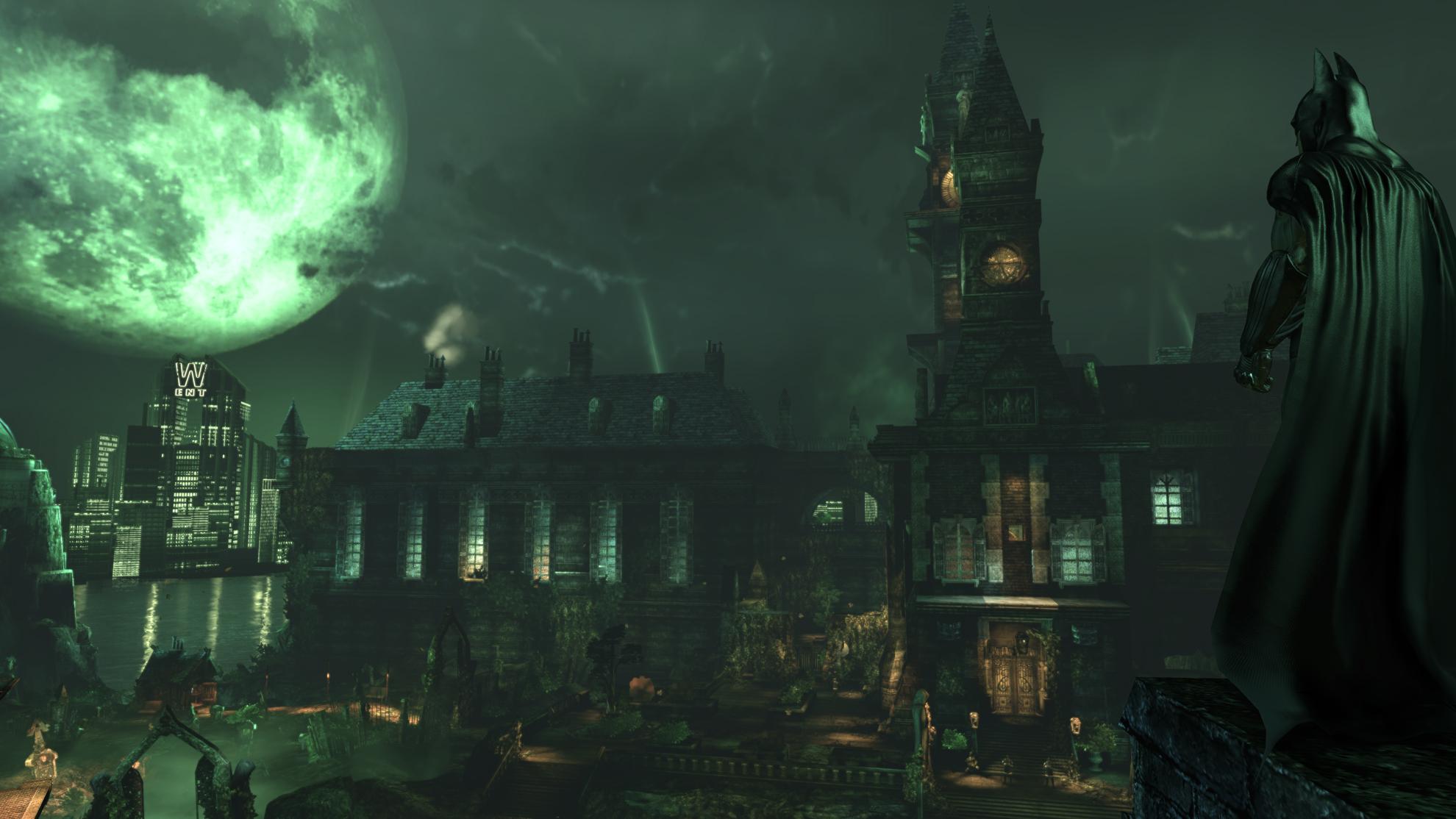 Batman looks across the Arkham Asylum complex