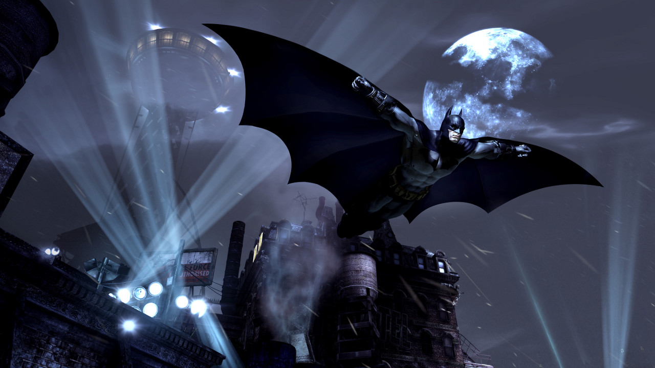 BatmanArkhamCity_GlidingToMoonLight