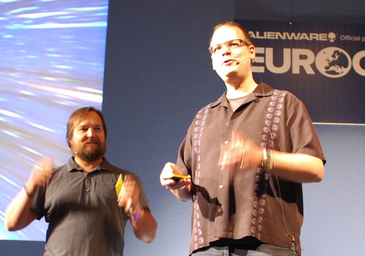Dr. Greg Zeschuk (left) and Dr Ray Muzyka onstage at Eurogamer Expo 2011