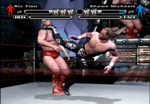 Shawn Michaels dropkicking Ric Flair in the chin