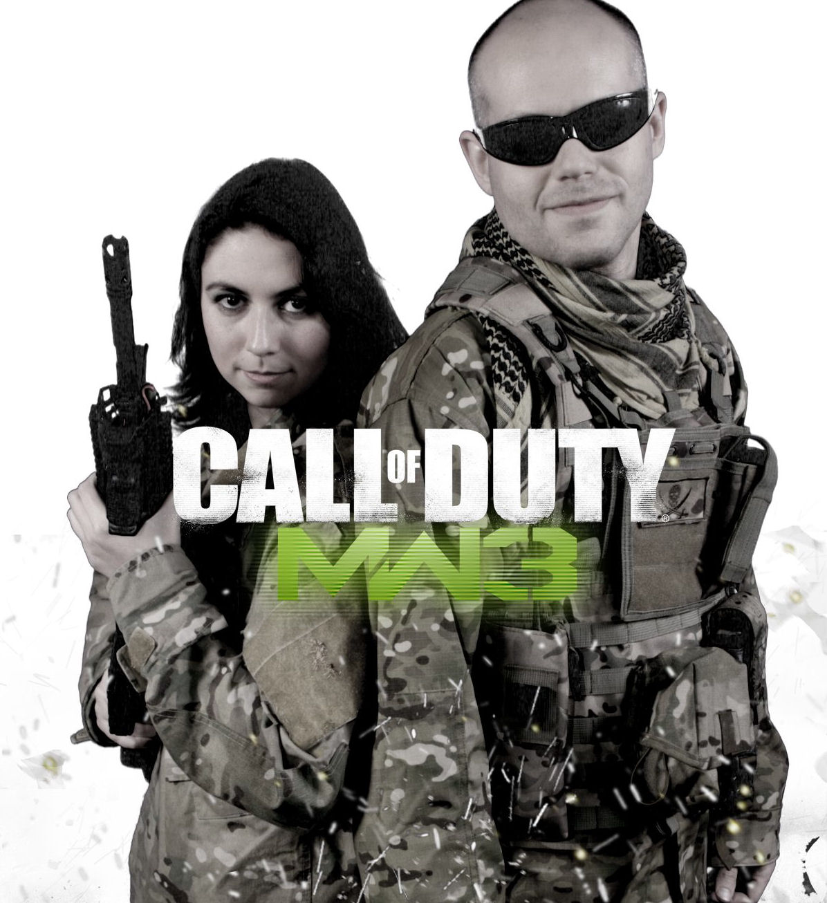 Debbie and Nick in costume for an alternate Call of Duty Modern Warfare 3 box cover