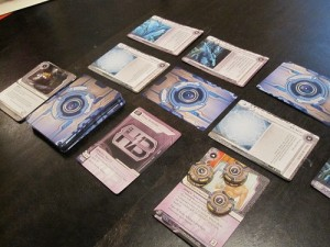 The setup for a typical Corporation game.