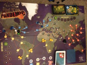 A basic game of Pandemic setup and ready to go.