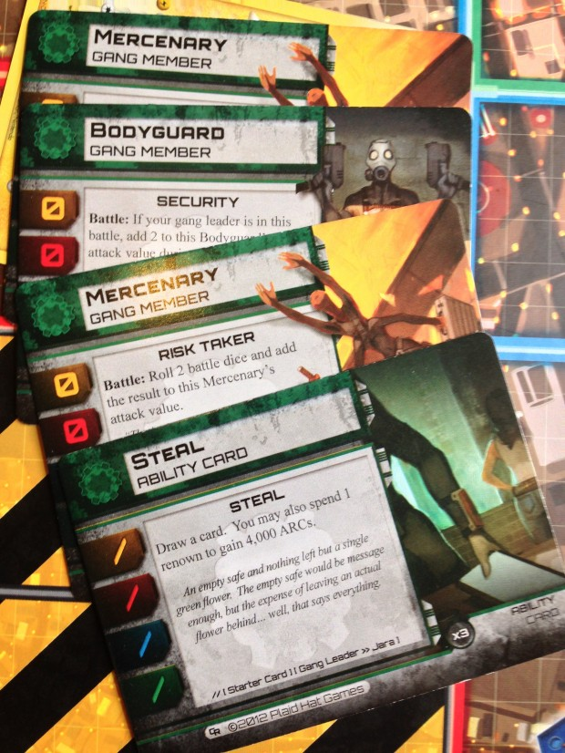 The various coloured gang decks form the core of combat, upgrades and tactical thinking in CoR.