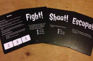 Each survivors cards are used in combat and help decide who's turns are taken first and who gets hit by the zombie,