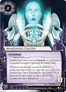 Awakening Centers art shows off the creepy clinical bio-tech business that Haas Bioroid established itself in.