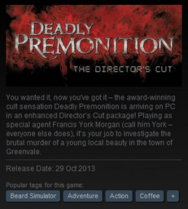 Steam Tags Deadly Premonition