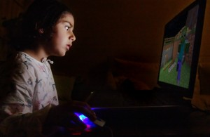 Girl Computer Stock Photo Minecraft