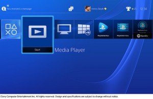 Sony PS4 Media Player Menu