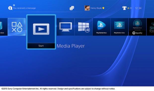 Sony PS4 Media Player Menu